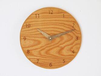 木製 掛け時計 丸 ケヤキ材29の画像