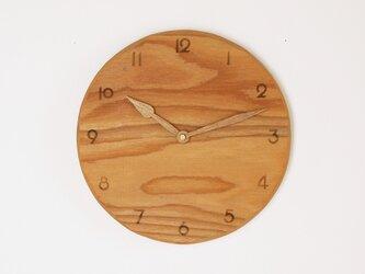 木製 掛け時計 丸 ケヤキ材32の画像