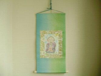 絵画 インテリア 水彩画 和紙タペストリー 地蔵 お地蔵さま ミドリの画像