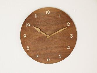 木製 掛け時計 丸 ブラックウォールナット材10の画像