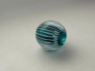 ひだ紋球・ビリジアン・ガラス製・とんぼ玉の画像