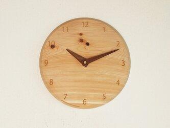 木製 掛け時計 丸 ヒノキ材3の画像