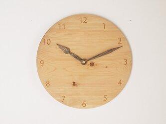 木製 掛け時計 丸 ヒノキ材4の画像