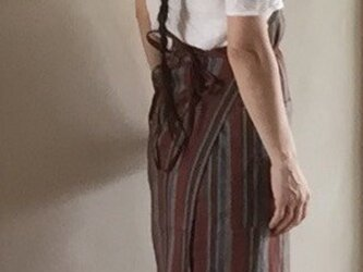 巻きスカートエプロン ⁂ スイス綿 ⁂ 素敵な織りのデットストック生地の画像