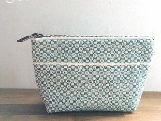 pouch[手織りポーチ]  ミント×ホワイトの画像