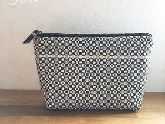 pouch[手織りポーチ]  ブラック×グレーの画像