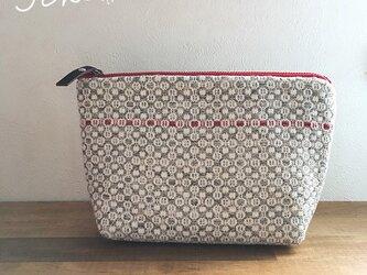 pouch[手織りポーチ]  グレー×レッドの画像