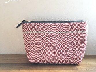 pouch[手織りポーチ]  レッド×グレーの画像
