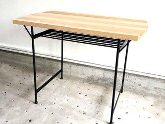 アイアン脚高級杉材テーブル(棚付き)の画像