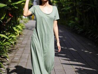ロング丈コットンTシャツドレス(グリーン)の画像