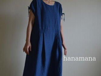 ちょっとおしゃれな日常着 受注製作 藍色リネンのフレンチタックワンピース ロングの画像