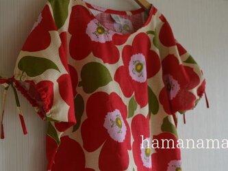 ちょっとおしゃれな日常着 受注製作 大きな花柄コットンのパフスリーブ ブラウス 赤の画像