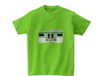 電車Tシャツ-山手線のホームドア(ライムグリーン)の画像