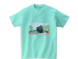 電車Tシャツ-SLと転車台(アイスグリーン)の画像