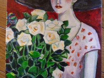 カシニョール「白いバラ」模写の画像