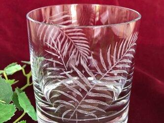 ヤシの葉の大きめロックグラス 〜手彫りガラス〜の画像
