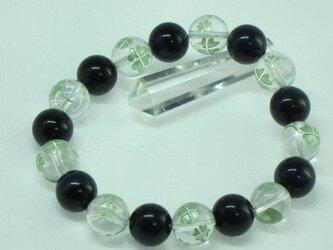水晶四つ葉クローバー&青虎目ブレスレットの画像