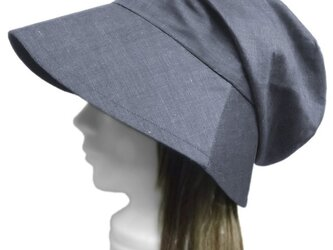 コットンシャンブレー/つば広女優帽子(ゆったり)◆ネイビー系の画像