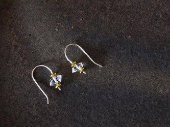 ハーキマーダイヤモンド・シンプルピアス p0461の画像