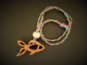 【特別価格】木彫りネックレス 金魚の画像