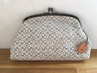 pouch[手織りがま口ポーチ] グレーの画像