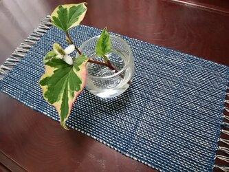 手織りセンター(藍×ベージュ)no.2の画像