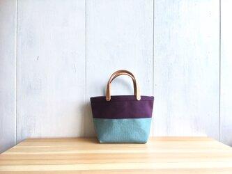 【受注製作】葡萄色と空色の小さな鞄の画像