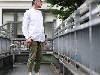 【size L】ルーズフィット・カジュアル / ライトグレー バンドカラーシャツの画像