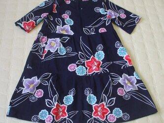 在庫処分 浴衣から桔梗の花のワンピース 木綿の画像