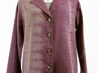 サマー・コットンジャケット(縦絞り染・赤紫濃淡)の画像