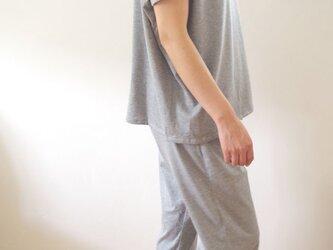 Organic Cotton フレンチスリーブゆったりパジャマ【グレー薄手ジャージー生地】の画像