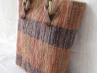 裂織り飾りリング付きトートバッグ(茶色)の画像