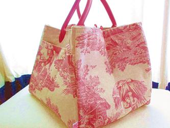 お片づけトートバッグ-ジュイ赤+Decoリボンの画像