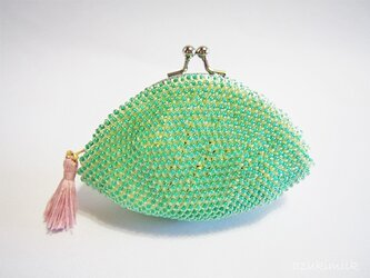 ビーズ編みがま口【色遊び】グリーンの画像