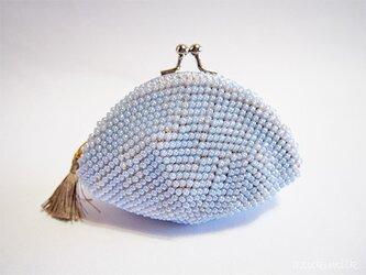 ビーズ編みがま口【色遊び】シルキーブルーの画像