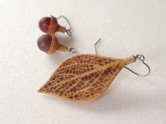 木彫葉っぱとどんぐりのピアス:ナラ | カラーバリエありの画像