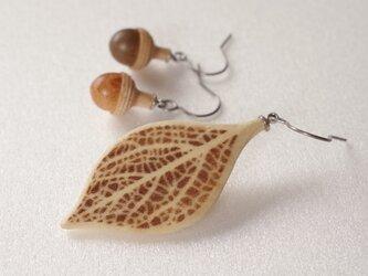 木彫葉っぱとどんぐりのピアス:ミズキ | カラーバリエありの画像