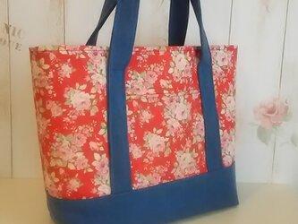 シンプルトートバッグ (赤花柄)の画像