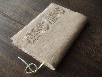 クロスステッチ花刺繍の文庫本ブックカバー ベージュ×ベージュ×生成りの画像