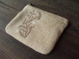クロスステッチ花刺繍のミニミニポーチ角 ベージュ×ベージュ×生成り の画像