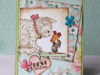 猫とねずみのカードの画像