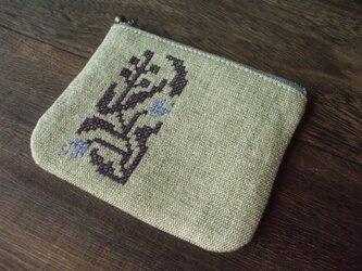 クロスステッチ花刺繍のミニミニポーチ角 カーキグリーン の画像