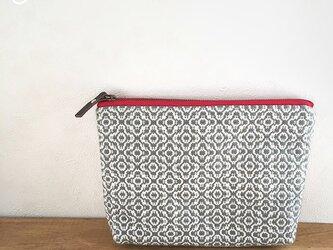 pouch[手織りポーチ] ライトグレーの画像