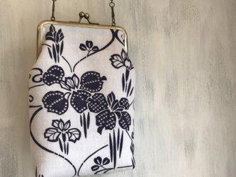 着物リメイク 浴衣 がま口ポシェット 斜め掛けバッグ 菖蒲の画像