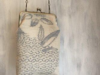 着物リメイク 紬 がま口ポシェット 斜め掛けバッグの画像