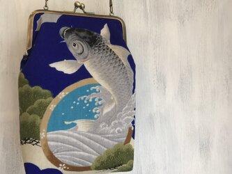 着物リメイク がま口ポシェット 斜め掛けバッグ 鯉 カープ 鷹の画像