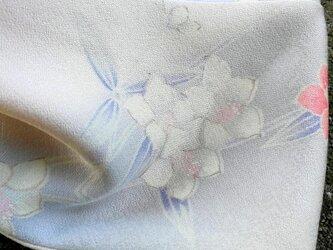 ヴィンテージ きもの シルク ツイスト ヘアバンド*凛 淡い青ピンク お花柄の画像