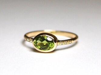 Peridot + Diamonds ring / K10YGの画像