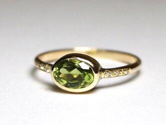 Peridot + Diamonds ring / K10YGの画像