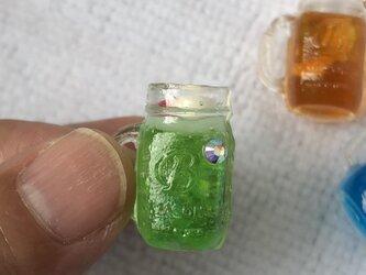 ミニチュアドリンクジャー(S)クリームソーダのリングorブローチの画像